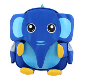 Moolecole Cute 3D Cartoon Animal Backpack Girl Boy Child Kindergarten School Bag Blue Elephant