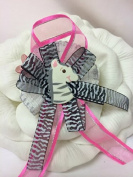 Baby Shower Jungle Zebra Corsage Favour Mother to Be Keepsake Gift in Fuchsia and Black