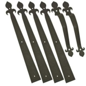 Decorative Garage Door Carriage House Hardware Kit - Fleur De Lis