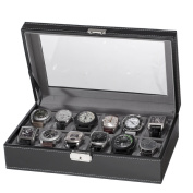 Black Watch Box 12-Slot Case PU Leather