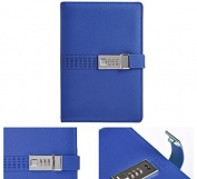 A5 PU Leather Journals Note books Secret Diary with Lock Password Lined , Locking Journal Diary - Classical Blue