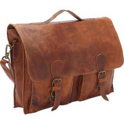 Sharo Brown Distressed Leather 38cm Laptop Messenger Brief