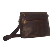 David King Leather Cafe Distressed Double Zip Flap Messenger Bag