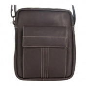 David King Leather 8468 Deluxe Medium Messenger with Flap Cafe
