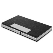 Zodaca Silver Stainless Steel Professional Business Card/ Credit Card/ Note Case Holder with Leather Covering