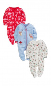 Next Baby Girl 3 Pack Deer Sleepsuits Rompers First Size 3.4kg/ 7.8lbs