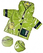 "Green Frog ""Ribbit"" Raincoat Teddy Clothes to fit Teddy Bears 8-10 inches"