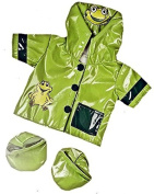 """Green Frog """"Ribbit"""" Raincoat Teddy Clothes to fit Teddy Bears 8-10 inches"""