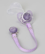 Crystal Dream Purple Quilted Gift Set Pacifier with Matching Ribbon Clip A-3M+