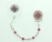 Crystal Dream Pink Filigree Gift Set Pacifier and Clip