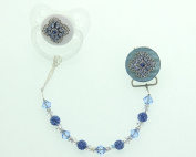 Crystal Dream Blue Filigree Gift Set Pacifier and Clip