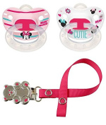 Nuk Girls Cute Minnie Mouse Disney Pacifiers soother dummy Set - 0-6 Months Silicone Orthodontic with Pink Paci Pacifier Holder Clip Great Baby Gift