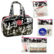 The Macbeth Collection Glamour Toile MJ Cosmetic Bag with 3-Removable Compartments