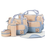 Moolecole 7 in 1 Mommy Tote Bag Travel Bag Nappy Bag Set