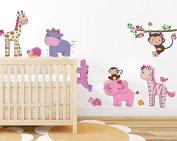 Pink girly animals wall sticker baby girl room jungle wall art decor removable nursery wall decal pinky elephant baby monkey forest sticker