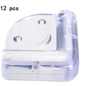 12 PCS Clear L Shape with Smile Face Style Furniture Corner Safety Bumper Corner Protector Guard Cushion Home Table Desk Edge Corner Protector