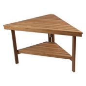 Deluxe Teak Corner Shower Bench with Shelf