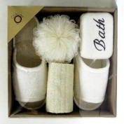 Bath Solution 130407 Bath Set with Slipper & #44; 4 Piece Set & #44; Pack of 12