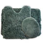 Lavish Home 3-Piece Super Plush Non-Slip Bath Mat Rug Set, Green