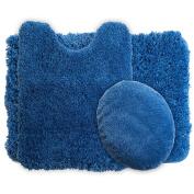 Lavish Home 3-Piece Super Plush Non-Slip Bath Mat Rug Set, Navy