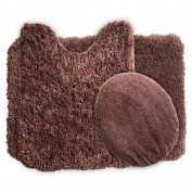 Lavish Home 3-Piece Super Plush Non-Slip Bath Mat Rug Set, Chocolate