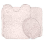 Lavish Home 3-Piece Super Plush Non-Slip Bath Mat Rug Set, Ivory