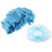 200 Pcs Disposable Stretchy Bouffant Pleated Nurse Dental Anti Dust Hats Blue