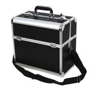 Songmics Aluminium Beauty Makeup Train Case Lockable Cosmetic Box Black Jewellery Storage Organiser UJBC229B