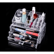 Acrylic Cosmetic Organiser Makeup Box Jewellery Organiser 3 Drawers Grids Display Box Storage
