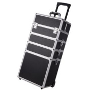 "Pro 4in1 Black 13x 9"" x 70cm Aluminium Rolling Makeup Train Case Artist Cosmetic Box Organiser"