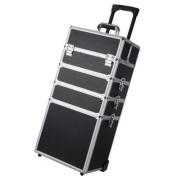 "Pro 4in1 Black 13x 9"" x 70cm Aluminium Rolling Makeup Train Case Artist Cosmetic Box Organiser"