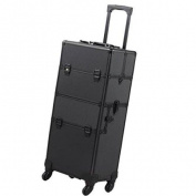 4-wheel Rolling 2in1 Makeup Train Cosmetic Case Black