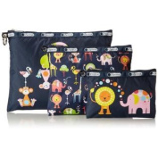 LeSportsac 3 Piece Travel Set 8162 Cosmetic Bag,Zoo Cute,One Size