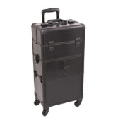 Black Croc Trolley Cosmetic Makeup Case Organiser - I3164