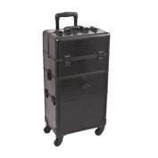 Black Croc Trolley Cosmetic Makeup Case Organiser - I3564