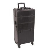 Black Croc Trolley Cosmetic Makeup Case Organiser - I3161