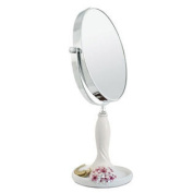 Continental Make-up Mirror 18cm Tabletop Two-Sided Cosmetic Mirror White/Pink