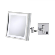 Kimball & Young Single-Sided LED Square Hardwired Wall Mirror - Brushed Nickel