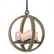 Uttermost Gironico Round 5 Light Rope Wrapped Pendant in Aged Black