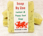 Lemon & Poppy Seed Traditional & Handmade Cold Process Natural Soap With Coconut Oil & Shea Butter
