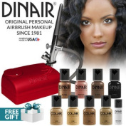 Dinair Airbrush Makeup Kit Personal Professional Tan Shades 4pc Colair Foundation Plus 4pc Bonus Glamour Colours (Shimmer,...