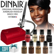 Dinair Airbrush Makeup Kit Personal Professional Dark Shades 4pc Colair Foundation Plus 4pc Bonus Glamour Colours (Shimmer,...