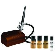 Dinair Airbrush Makeup Kit Basic One Speed Compressor Tan Shades