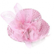 Lady Cocktail Flower Sequins Detail Mini Top Hat Alligator Hair Clip Pink