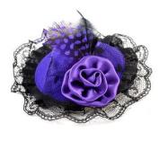 Ladies Hair Ornament Lace Edge Hat Designed Flannel Hair Clip Dark Purple Black