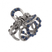 Lady Dark Blue Faux Gemstone Detail Silver Tone Metal Claw Hair Clamp Clip