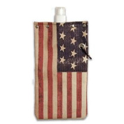 American Flag Water,Wine and Beverage Canvas Reusable Flask Bottle & Tote Carrier Holds 750ml, 26oz