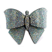 DoubleAccent Hair Jewellery Large Lightweight Crystal Butterfly Barrette Clear Colour