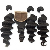 Vedar Beauty Women's Grade 6A Unprocessed Virgin Peruvian Hair Weaves Loose Wave 100G/Bundle 3Pcs hair extensions with 1