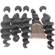 """Vedar Beauty 4Bundles+1Closure Loose Wave Virgin Brazilian Hair Unprocessed Extensions Weft 4Pcs12"""" 36cm 41cm 46cm and 1Piec"""